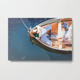 Nautical Fine Art Photography Boat in Water Metal Print