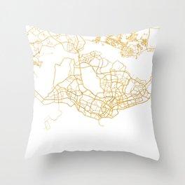 SINGAPORE CITY STREET MAP ART Throw Pillow