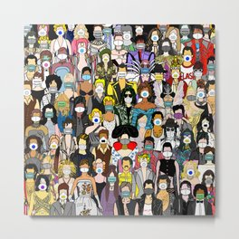 Face Mask Party Metal Print