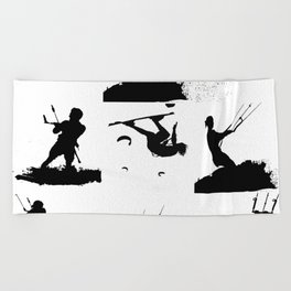 Wakeboarder Silhouette Collage Beach Towel