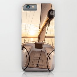 sailing yacht at sea - nautical photography- sailing into the sunset iPhone Case