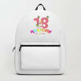 Awesome Since 2000 Unicorn 18th Birthday Anniversaries Backpack