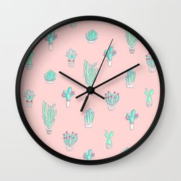 Little succulent pattern on pastel pink Wall Clock