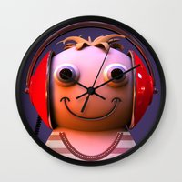 headphones Wall Clocks featuring Headphones by Aguinaldo Goncalves