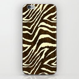 Animal Print Zebra in Winter Brown and Beige iPhone Skin