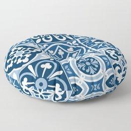 Classic Blue Tiles Floor Pillow