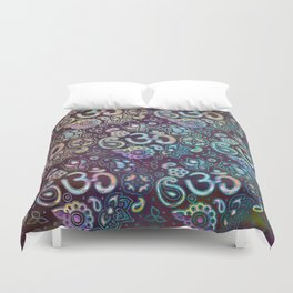 Sweet watercolor pastel  OM symbol pattern Duvet Cover