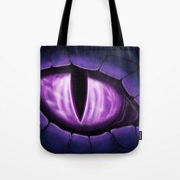 Purple Dragon Eye Fantasy Painting Colorful Digital Illustration Tote Bag
