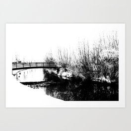 Bridge and Stream Winter Scene Art Print