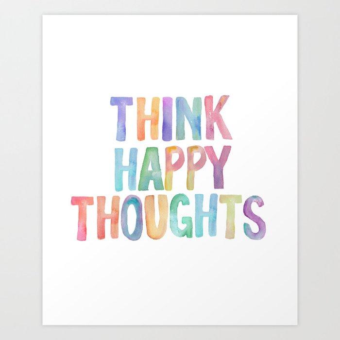 Think Happy Thoughts, Nursery Wall Art Kids Room, Nursery ...