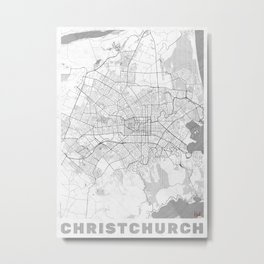 Christchurch Map Line Metal Print