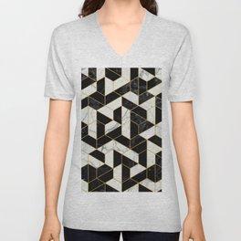 Black and White Marble Hexagonal Pattern Unisex V-Neck