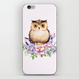 Bohomian Animal Illustration- Be Wise Little Owl iPhone Skin