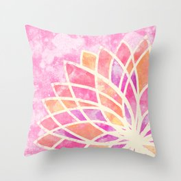 Stained Glass Lotus Throw Pillow