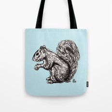 Blue Woodland Creatures - Squirrel Tote Bag