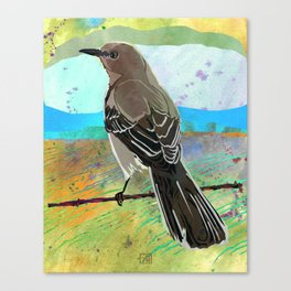 Mockingbird on a Wire Fence - In The Morning Canvas Print