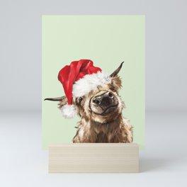 Christmas Highland Cow in Green Mini Art Print