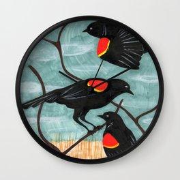 Red Winged Blackbirds in Marsh Wall Clock