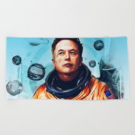 Astronaut Elon Musk Beach Towel