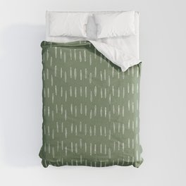 Let It Snow, Green and White, Boho Art Comforters