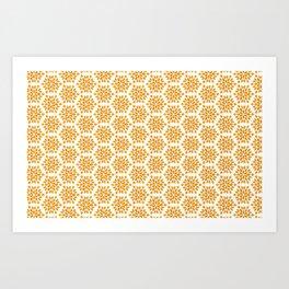 Autumn Brown Burnt Orange Starburst Radial Vegetation Pattern Art Print