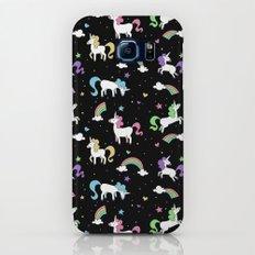 Unicorns and Rainbows - black -tiny Slim Case Galaxy S8