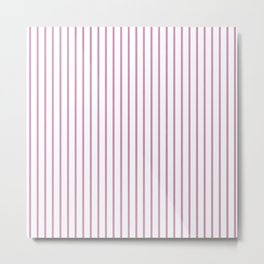 Princess Pink Pinstripe on White Metal Print