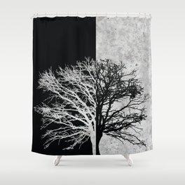 Natural Outlines - Oak Tree Black & Concrete #402 Shower Curtain