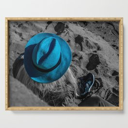 Blue Hat Black and White Street Photography in Cannes Serving Tray