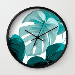 Turquoise Large Monstera Leaves On A White Background Fresh And Clear #decor #society6 #buyart Wall Clock