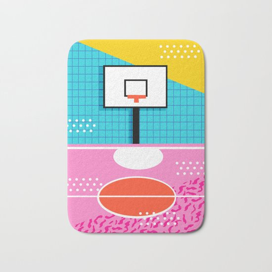 Ballin' - memphis retro neon trendy throwback sports basketball pop art Bath Mat