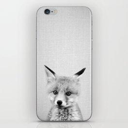 Baby Fox - Black & White iPhone Skin