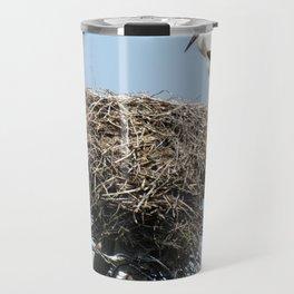 Stork on a Wire Travel Mug