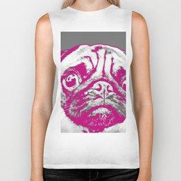 Sweet pug in pink and gray. Pop art style portrait. Biker Tank