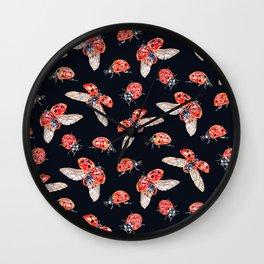 Lucky Ladybugs Pattern Wall Clock