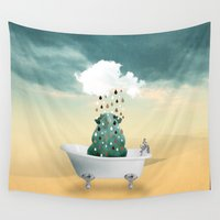 superheroes Wall Tapestries featuring SHOWER CURTAIN by mark ashkenazi