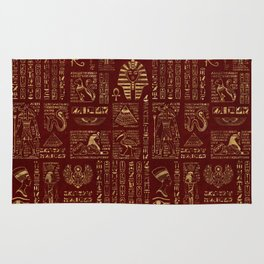 Egyptian hieroglyphs and symbols gold on red leather Rug