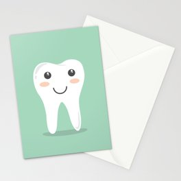 Big White Happy Tooth Stationery Cards