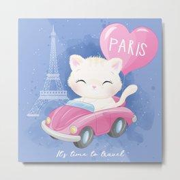 Cute Litter Kitty Traveling  Metal Print