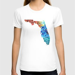 Florida - Map by Counties Sharon Cummings Art T-shirt