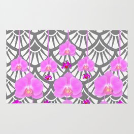CERISE PINK ORCHID FLOWERS GREY DECO PATTERN ABSTRACT ART Rug