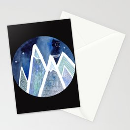 Sleeping on Top of the World with black background Stationery Cards