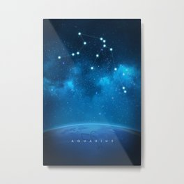 Aquarius: Astrological Art Metal Print