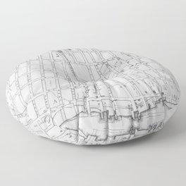 Vintage Map of Williamsburg Brooklyn (1827) Floor Pillow