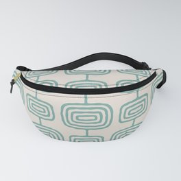 Mid Century Modern Atomic Rings Pattern Foam Green and beige 3 Fanny Pack