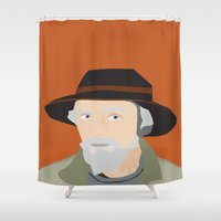 scandinavian Shower Curtains featuring Scandinavian fisherman by Design4u Studio