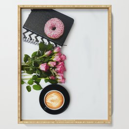 Morning Latte & Flowers Serving Tray