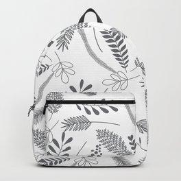 Modern gray hand painted leaves berries pattern Backpack