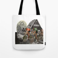 tour de france Tote Bags featuring Le tour de France by a wardrobe in the space