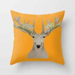 Botanic Deer Throw Pillow